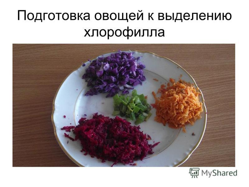 Подготовка овощей к выделению хлорофилла