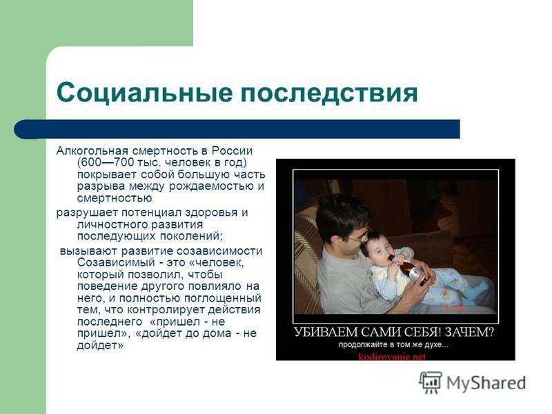 Социальные последствия Алкогольная смертность в России (600700 тыс. человек в год) покрывает собой большую часть разрыва между рождаемостью и смертностью разрушает потенциал здоровья и личностного развития последующих поколений; вызывают развитие соз