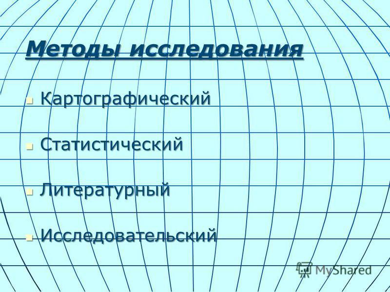 Методы исследования Картографический Картографический Статистический Статистический Литературный Литературный Исследовательский Исследовательский