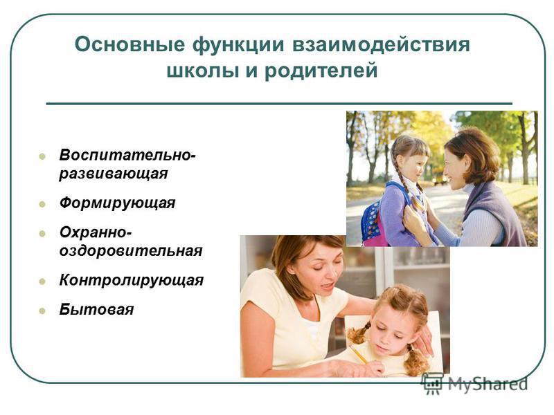 Воспитательно- развивающая Формирующая Охранно- оздоровительная Контролирующая Бытовая Основные функции взаимодействия школы и родителей