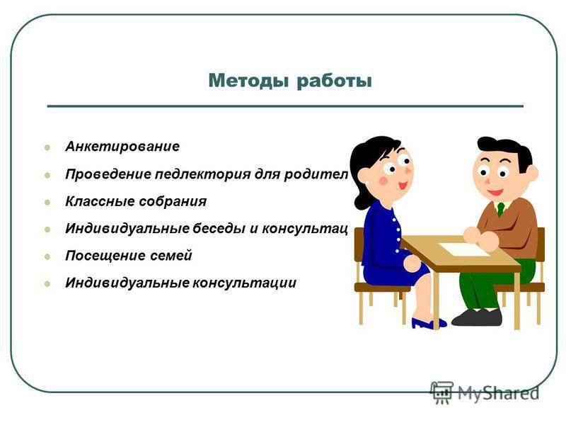 Методы работы Анкетирование Проведение пед лектория для родителей Классные собрания Индивидуальные беседы и консультации Посещение семей Индивидуальные консультации