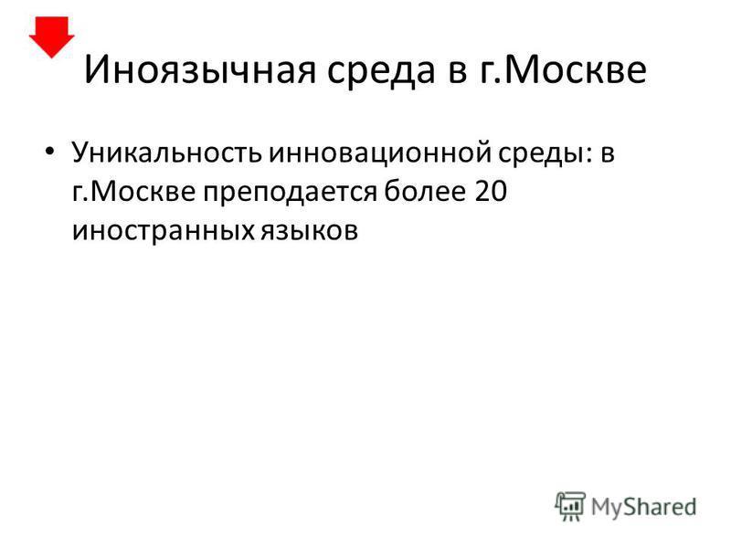 Иноязычная среда в г.Москве Уникальность инновационной среды: в г.Москве преподается более 20 иностранных языков