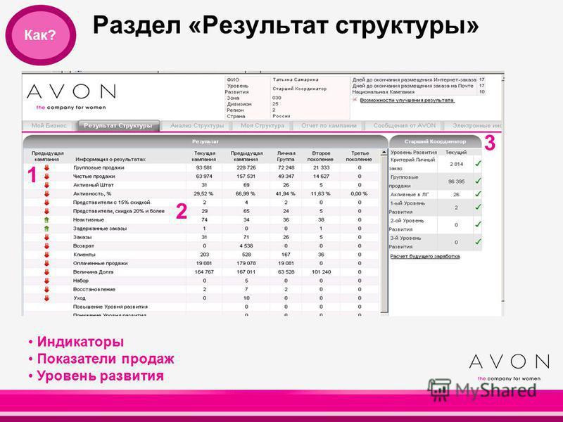 Раздел «Результат структуры» 21 1 2 Индикаторы Показатели продаж Уровень развития 3 Как?