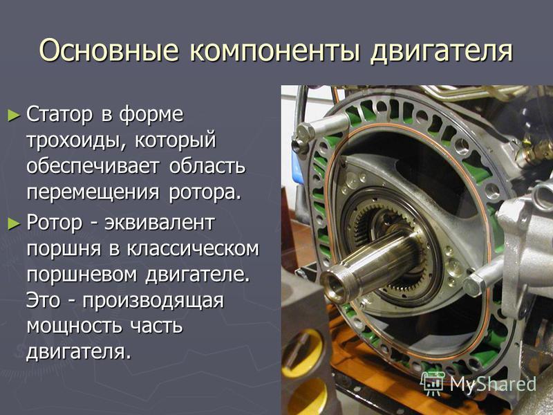 Основные компоненты двигателя Статор в форме трохоиды, который обеспечивает область перемещения ротора. Статор в форме трохоиды, который обеспечивает область перемещения ротора. Ротор - эквивалент поршня в классическом поршневом двигателе. Это - прои