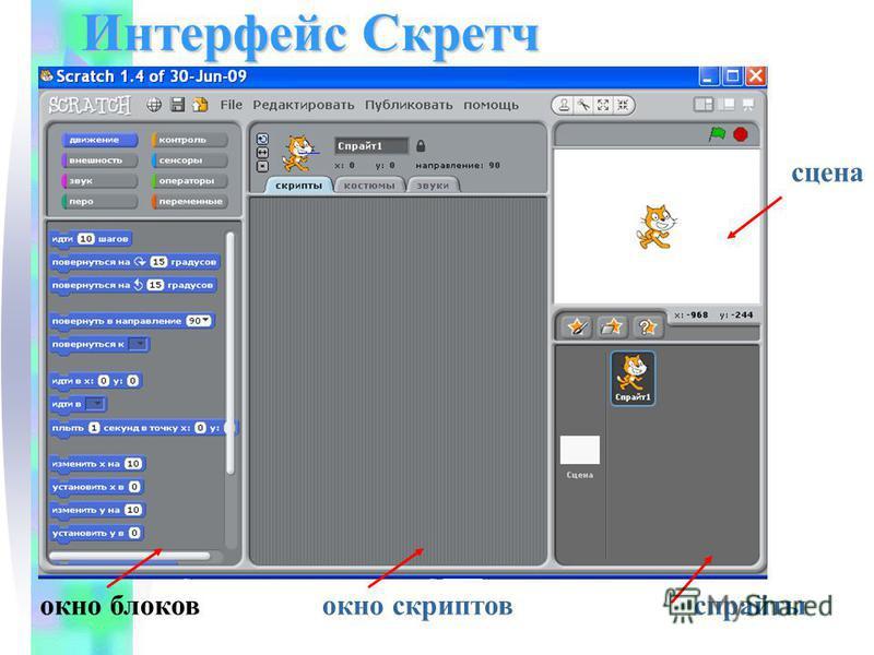 окно блоков окно скриптов спрайты сцена Интерфейс Скретч