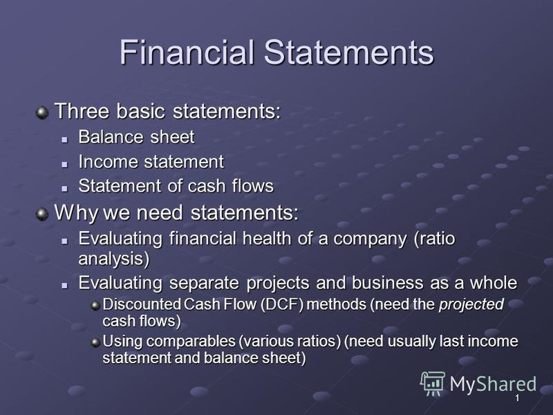 1 Financial Statements Three basic statements: Balance sheet Balance sheet Income statement Income statement Statement of cash flows Statement of cash flows Why we need statements: Evaluating financial health of a company (ratio analysis) Evaluating
