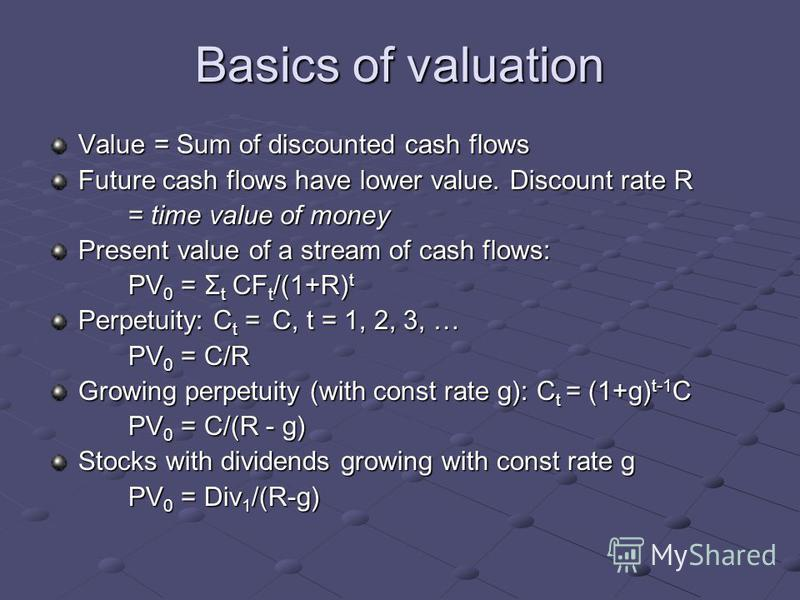 Basics of valuation Value = Sum of discounted cash flows Future cash flows have lower value. Discount rate R = time value of money Present value of a stream of cash flows: PV 0 = Σ t CF t /(1+R) t Perpetuity: C t = C, t = 1, 2, 3, … PV 0 = C/R Growin