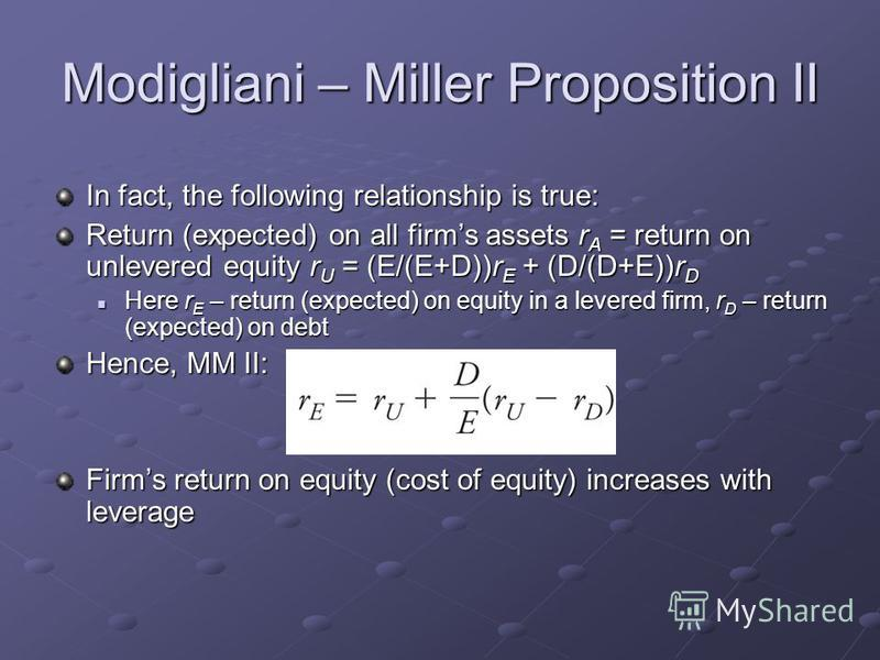 Modigliani – Miller Proposition II In fact, the following relationship is true: Return (expected) on all firms assets r A = return on unlevered equity r U = (E/(E+D))r E + (D/(D+E))r D Here r E – return (expected) on equity in a levered firm, r D – r