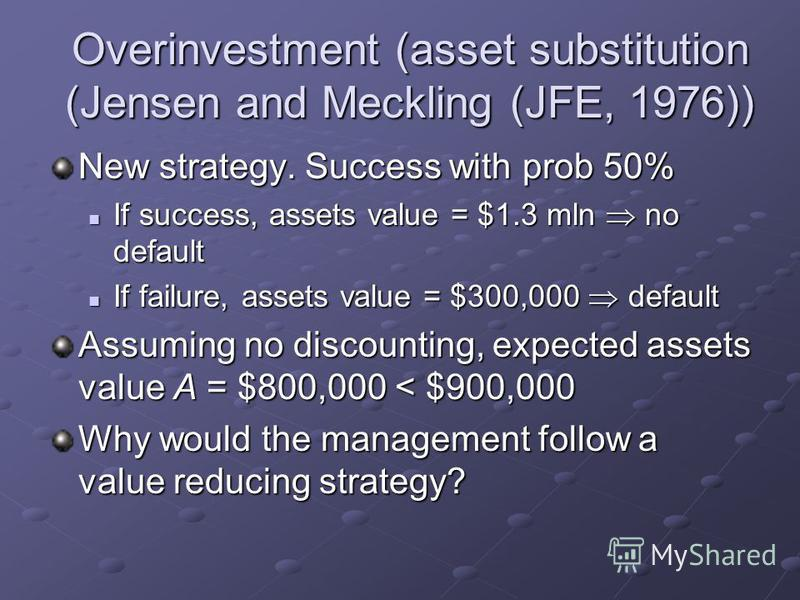 Overinvestment (asset substitution (Jensen and Meckling (JFE, 1976)) New strategy. Success with prob 50% If success, assets value = $1.3 mln no default If success, assets value = $1.3 mln no default If failure, assets value = $300,000 default If fail