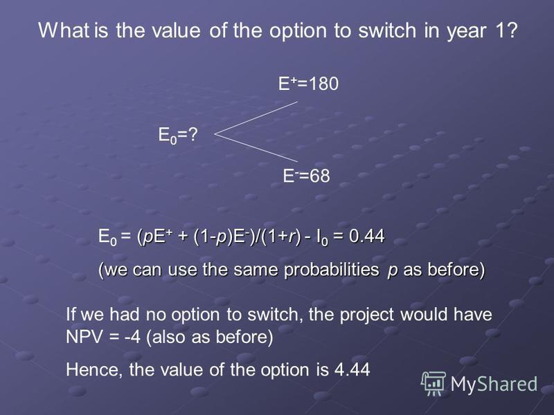 E 0 =? E + =180 E - =68 What is the value of the option to switch in year 1? (pE + + (1-p)E - )/(1+r) - I 0 = 0.44 E 0 = (pE + + (1-p)E - )/(1+r) - I 0 = 0.44 (we can use the same probabilities p as before) If we had no option to switch, the project