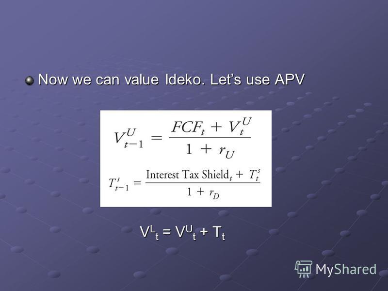 Now we can value Ideko. Lets use APV V L t = V U t + T t