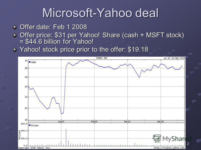 2 Microsoft-Yahoo deal Offer date: Feb 1 2008 Offer price: $31 per Yahoo! Share (cash + MSFT stock) = $44.6 billion for Yahoo! Yahoo! stock price prior to the offer: $19.18