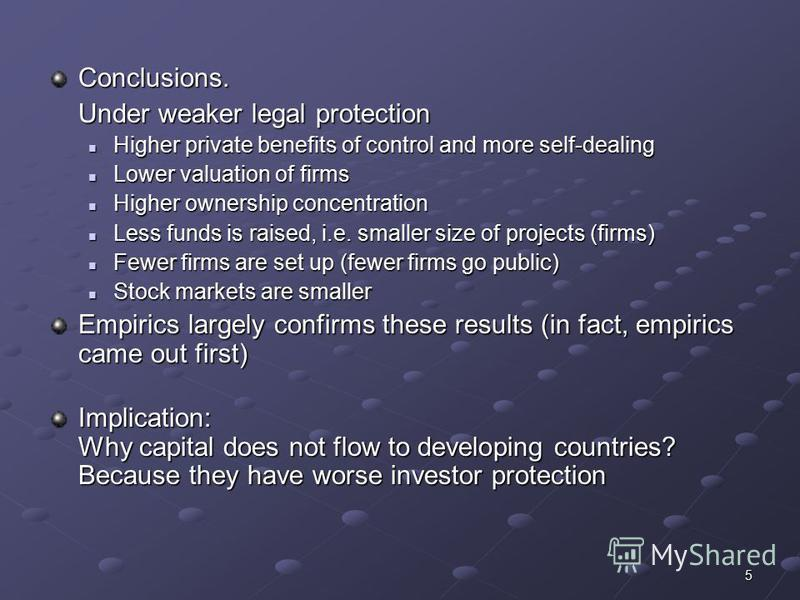 5 Conclusions. Under weaker legal protection Higher private benefits of control and more self-dealing Higher private benefits of control and more self-dealing Lower valuation of firms Lower valuation of firms Higher ownership concentration Higher own
