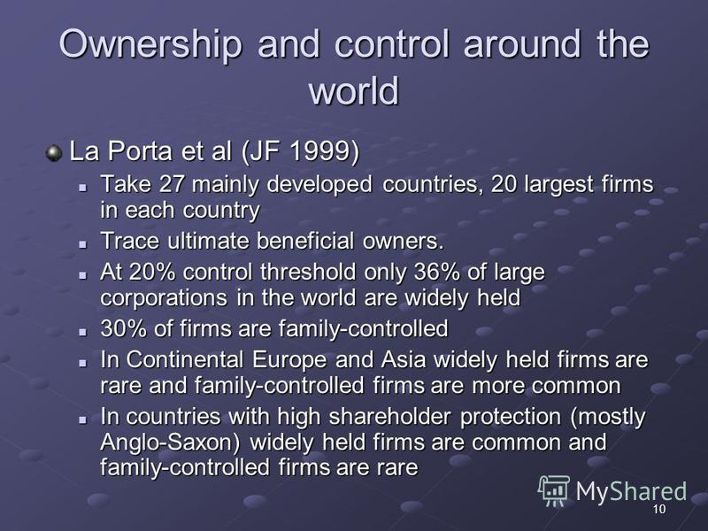 10 Ownership and control around the world La Porta et al (JF 1999) Take 27 mainly developed countries, 20 largest firms in each country Take 27 mainly developed countries, 20 largest firms in each country Trace ultimate beneficial owners. Trace ultim