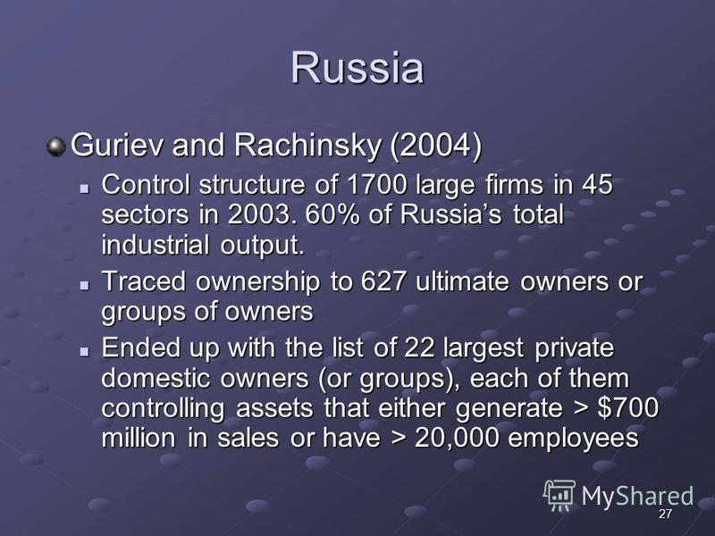 27 Russia Guriev and Rachinsky (2004) Control structure of 1700 large firms in 45 sectors in 2003. 60% of Russias total industrial output. Control structure of 1700 large firms in 45 sectors in 2003. 60% of Russias total industrial output. Traced own