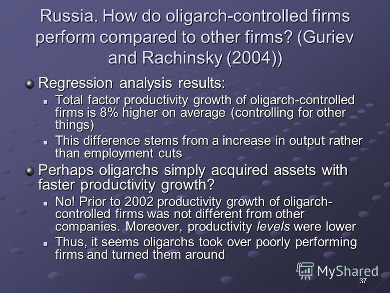 37 Russia. How do oligarch-controlled firms perform compared to other firms? (Guriev and Rachinsky (2004)) Regression analysis results: Total factor productivity growth of oligarch-controlled firms is 8% higher on average (controlling for other thing