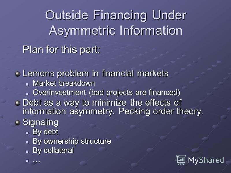 Outside Financing Under Asymmetric Information Plan for this part: Lemons problem in financial markets Market breakdown Market breakdown Overinvestment (bad projects are financed) Overinvestment (bad projects are financed) Debt as a way to minimize t