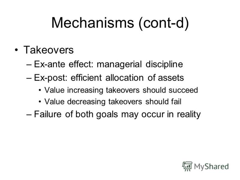 Mechanisms (cont-d) Takeovers –Ex-ante effect: managerial discipline –Ex-post: efficient allocation of assets Value increasing takeovers should succeed Value decreasing takeovers should fail –Failure of both goals may occur in reality