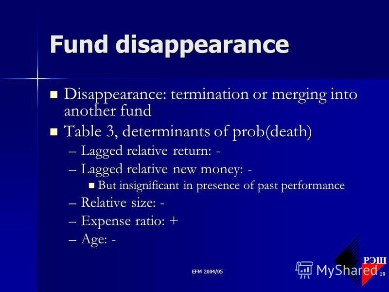 РЭШ EFM 2004/05 19 Fund disappearance Disappearance: termination or merging into another fund Disappearance: termination or merging into another fund Table 3, determinants of prob(death) Table 3, determinants of prob(death) –Lagged relative return: -