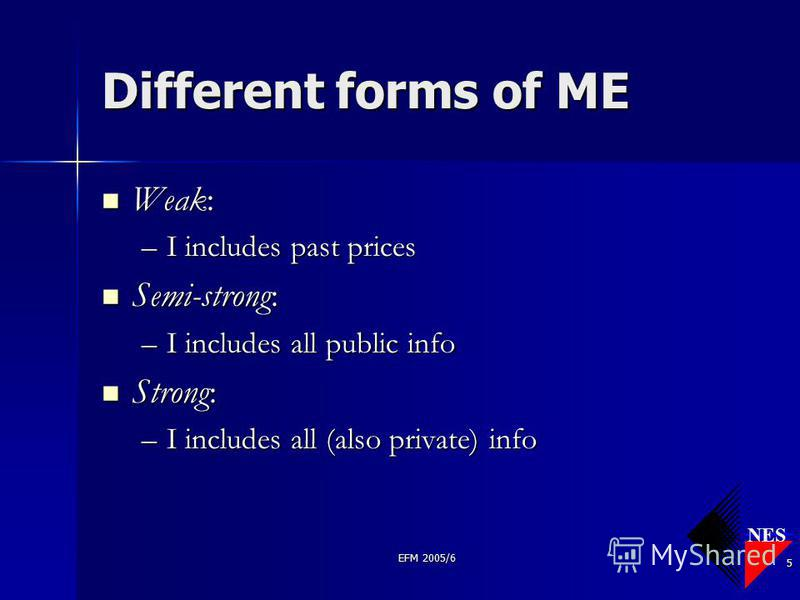 NES EFM 2005/6 5 Different forms of ME Weak: Weak: –I includes past prices Semi-strong: Semi-strong: –I includes all public info Strong: Strong: –I includes all (also private) info