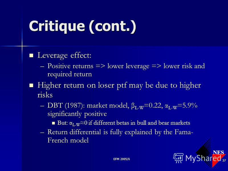 NES EFM 2005/6 37 Critique (cont.) Leverage effect: Leverage effect: –Positive returns => lower leverage => lower risk and required return Higher return on loser ptf may be due to higher risks Higher return on loser ptf may be due to higher risks –DB