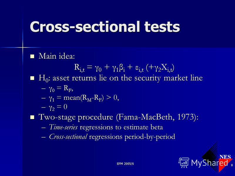 NES EFM 2005/6 8 Cross-sectional tests Main idea: Main idea: R i,t = γ 0 + γ 1 β i + ε i,t (+γ 2 X i,t ) H 0 : asset returns lie on the security market line H 0 : asset returns lie on the security market line –γ 0 = R F, –γ 1 = mean(R M -R F ) > 0, –