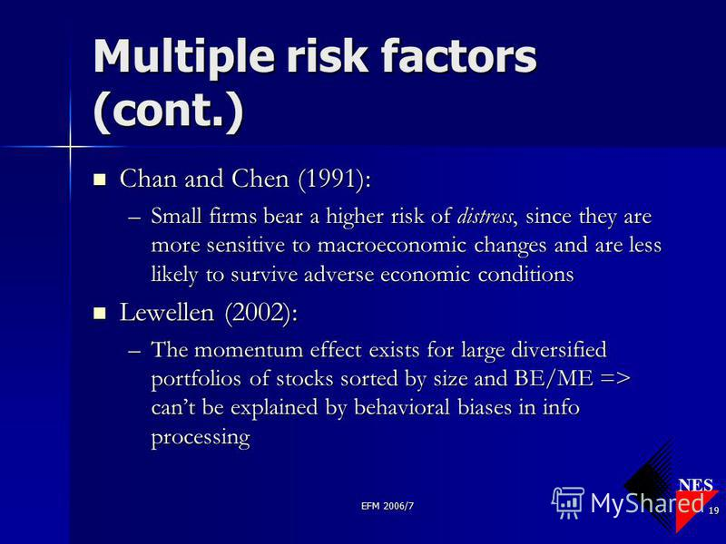 NES EFM 2006/7 19 Multiple risk factors (cont.) Chan and Chen (1991): Chan and Chen (1991): –Small firms bear a higher risk of distress, since they are more sensitive to macroeconomic changes and are less likely to survive adverse economic conditions