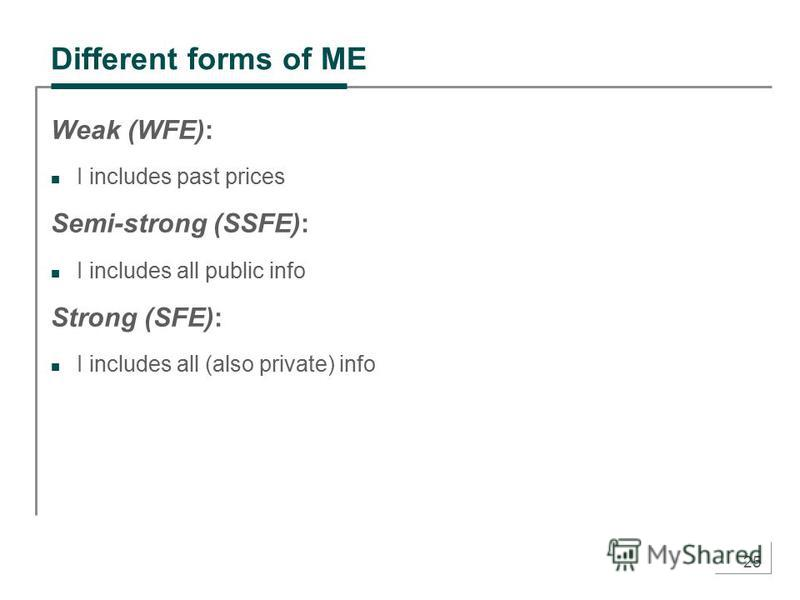 25 Different forms of ME Weak (WFE): I includes past prices Semi-strong (SSFE): I includes all public info Strong (SFE): I includes all (also private) info