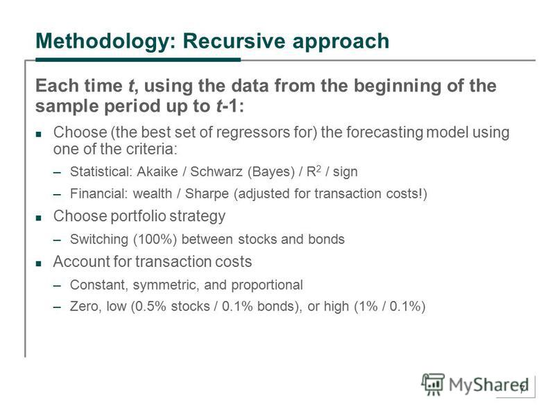 7 Methodology: Recursive approach Each time t, using the data from the beginning of the sample period up to t-1: Choose (the best set of regressors for) the forecasting model using one of the criteria: –Statistical: Akaike / Schwarz (Bayes) / R 2 / s