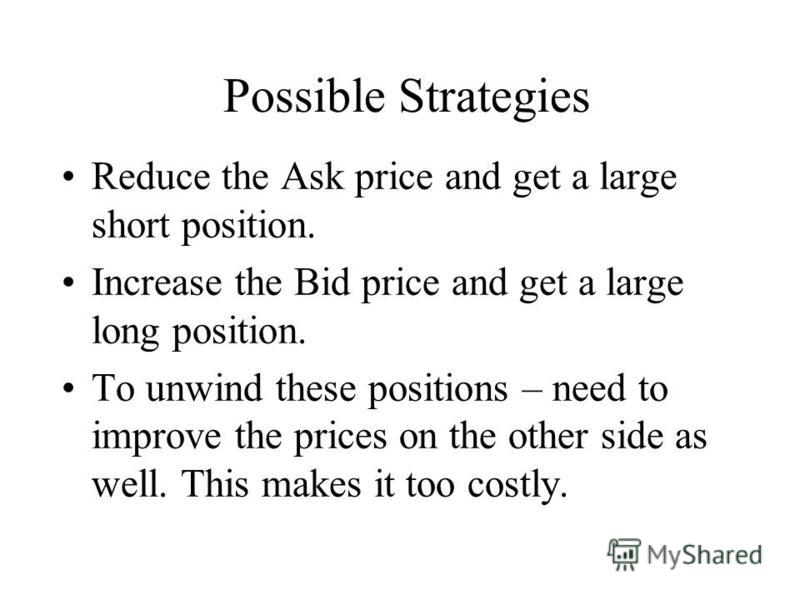 Possible Strategies Reduce the Ask price and get a large short position. Increase the Bid price and get a large long position. To unwind these positions – need to improve the prices on the other side as well. This makes it too costly.