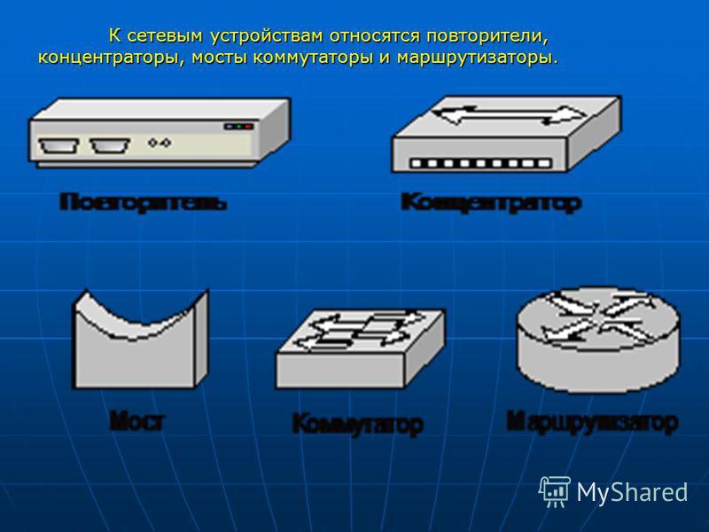 К сетевым устройствам относятся повторители, концентраторы, мосты коммутаторы и маршрутизаторы.