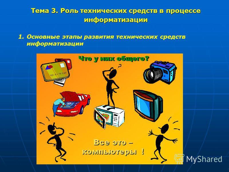 Тема 3. Роль технических средств в процессе информатизации 1. Основные этапы развития технических средств информатизации