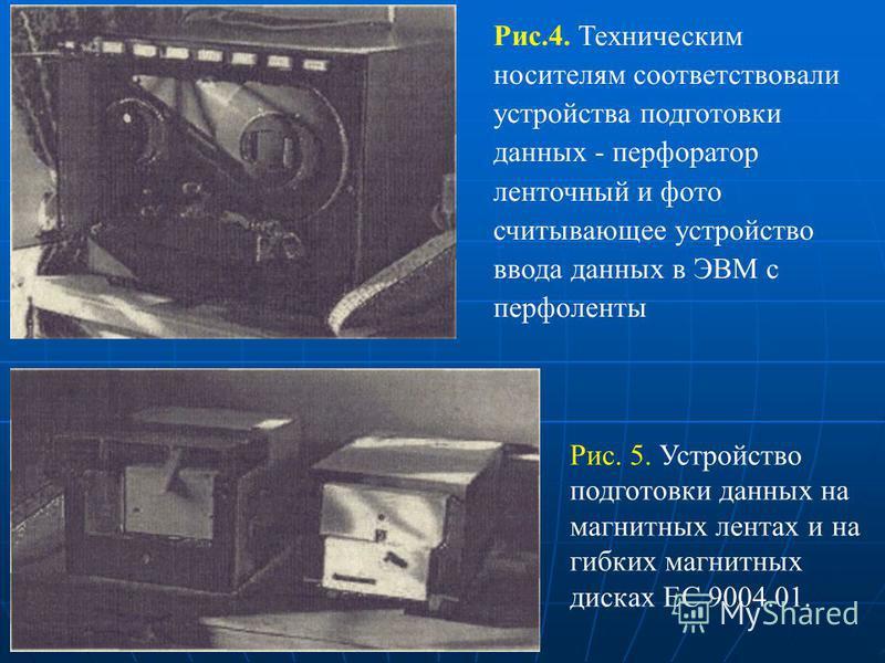 Рис.4. Техническим носителям соответствовали устройства подготовки данных - перфоратор ленточный и фото считывaющee устройство ввода данных в ЭВМ с перфоленты Рис. 5. Устройство подготовки данных на магнитных лентах и на гибких магнитных дисках ЕС 90