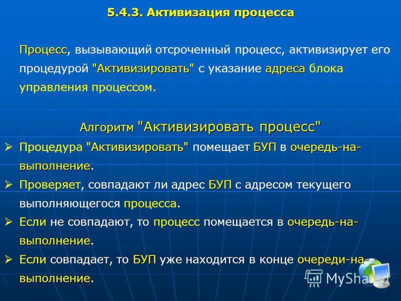 5.4.3. Активизация процесса Процесс