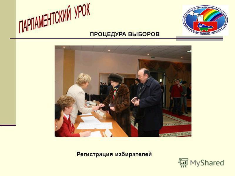 Регистрация избирателей ПРОЦЕДУРА ВЫБОРОВ