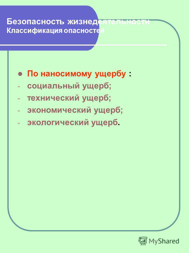 Безопасность жизнедеятельности Классификация опасностей По наносимому ущербу : - социальный ущерб; - технический ущерб; - экономический ущерб; - экологический ущерб.
