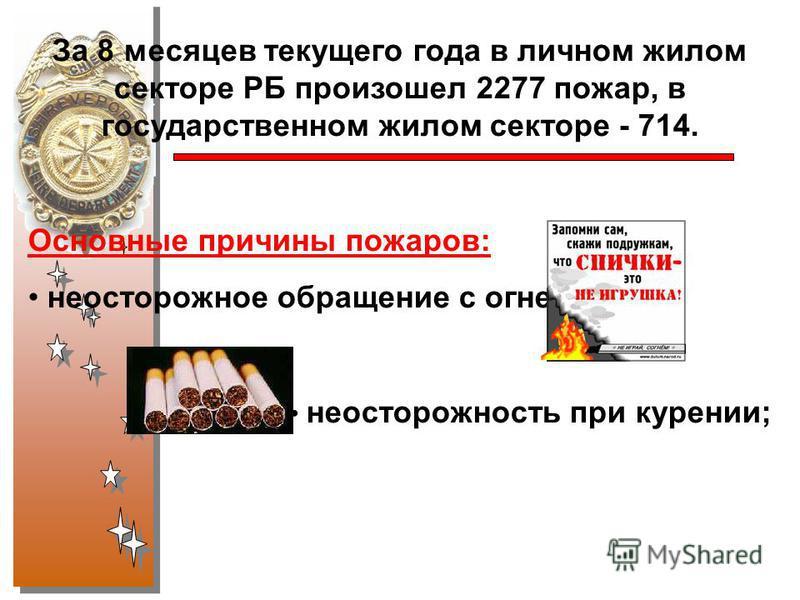 За 8 месяцев текущего года в личном жилом секторе РБ произошел 2277 пожар, в государственном жилом секторе - 714. Основные причины пожаров: неосторожное обращение с огнем; неосторожность при курении;