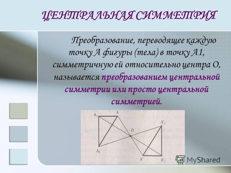 ЦЕНТРАЛЬНАЯ СИММЕТРИЯ Преобразование, переводящее каждую точку А фигуры (тела) в точку А1, симметричную ей относительно центра О, называется преобразованием центральной симметрии или просто центральной симметрией.