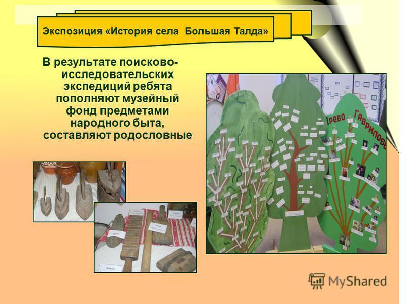 В результате поисково- исследовательских экспедиций ребята пополняют музейный фонд предметами народного быта, составляют родословные Экспозиция «История села Большая Талда»