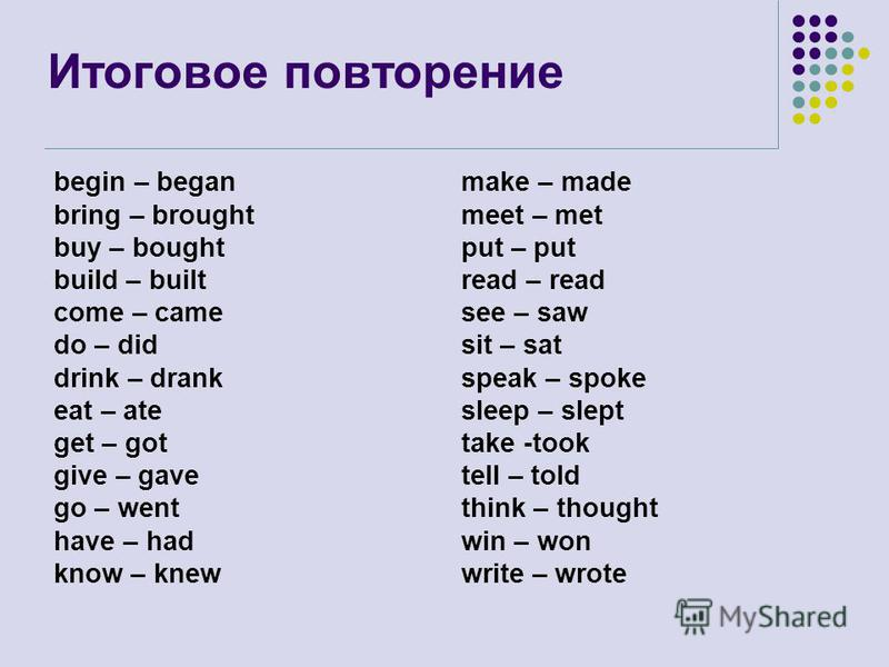 Итоговое повторение begin – began bring – brought buy – bought build – built come – came do – did drink – drank eat – ate get – got give – gave go – went have – had know – knew make – made meet – met put – put read – read see – saw sit – sat speak –