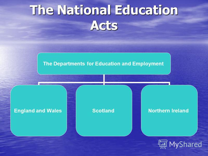 The National Education Acts The Departments for Education and Employment England and Wales ScotlandNorthern Ireland