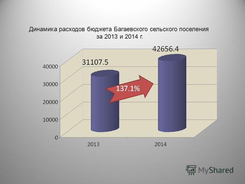 Динамика расходов бюджета Багаевского сельского поселения за 2013 и 2014 г.