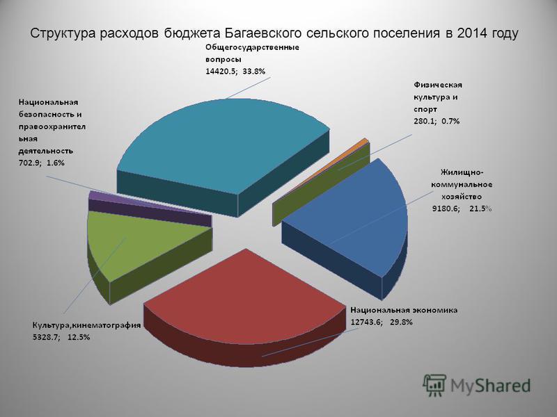 Структура расходов бюджета Багаевского сельского поселения в 2014 году