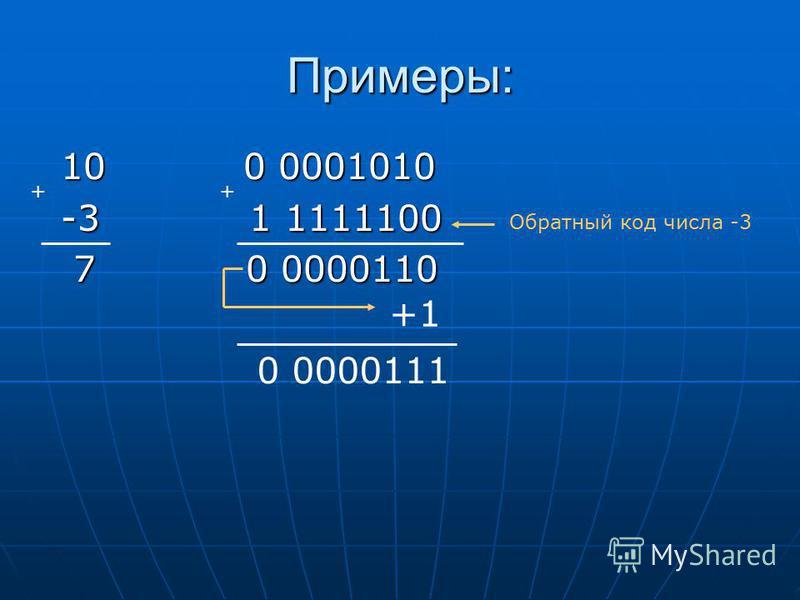 Примеры: 10 0 0001010 10 0 0001010 -3 1 1111100 -3 1 1111100 7 0 0000110 7 0 0000110 ++ +1 0 0000111 Обратный код числа -3
