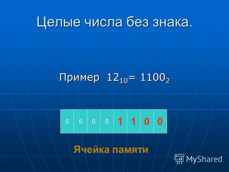 Целые числа без знака. Пример 12 10 = 1100 2 0 0 00 1100 Ячейка памяти