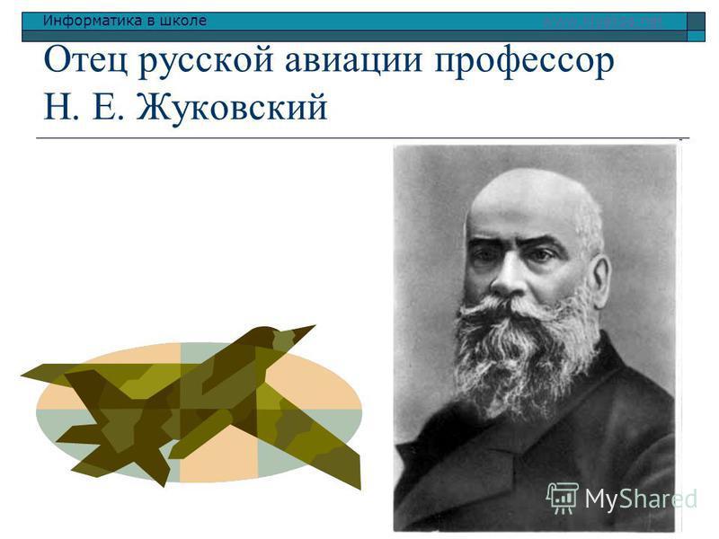 Информатика в школе www.klyaksa.netwww.klyaksa.net Отец русской авиации профессор Н. Е. Жуковский