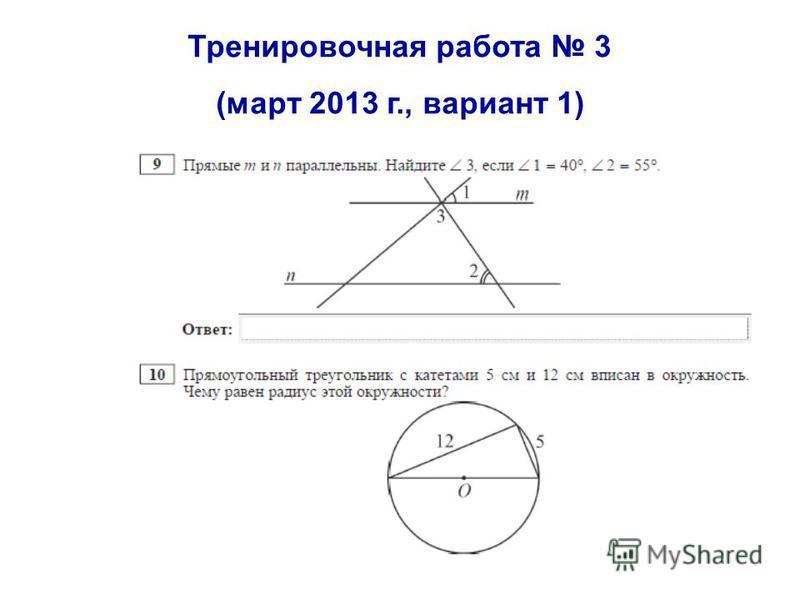 Тренировочная работа 3 (март 2013 г., вариант 1)