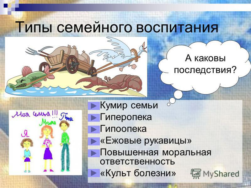 Типы семейного воспитания Кумир семьи Гиперопека Гипоопека «Ежовые рукавицы» Повышенная моральная ответственность «Культ болезни» А каковы последствия?