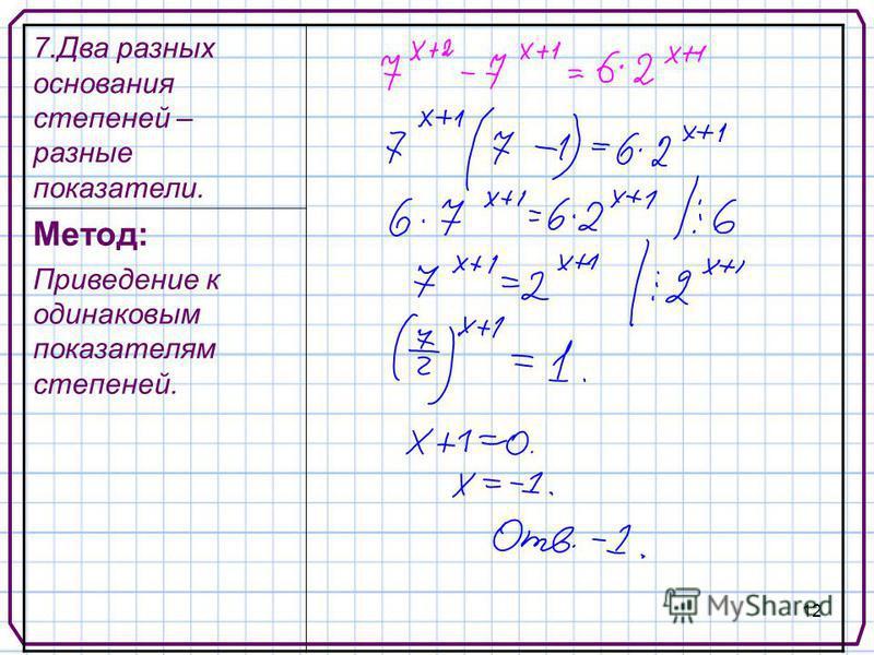 12 7. Два разных основания степеней – разные показатели. Метод: Приведение к одинаковым показателям степеней.