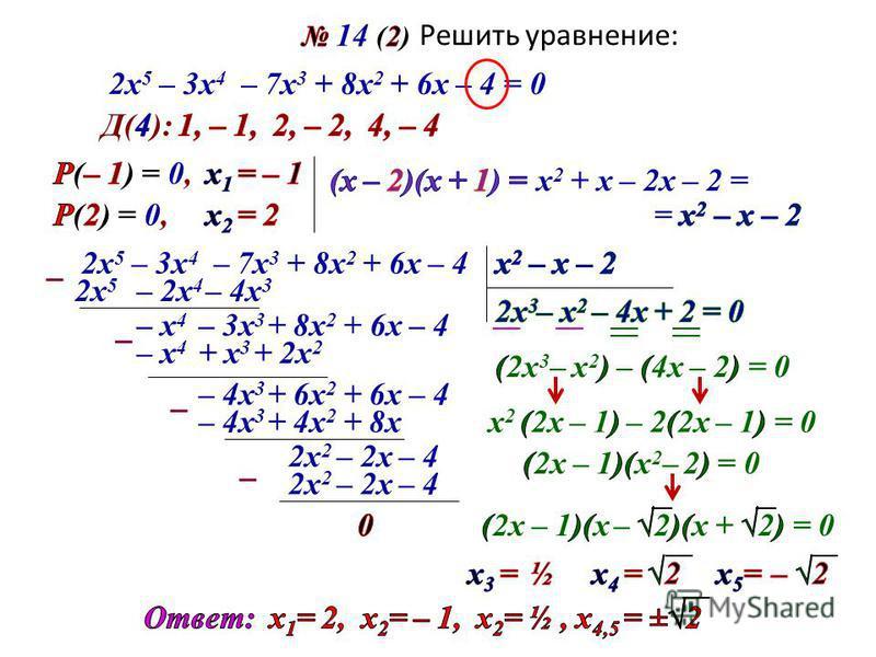 Решить уравнение: 2 х 5 – 3 х 4 – 7 х 3 + 8 х 2 + 6 х – 4 = 0 х 2 + х– 2 х – 2 = 2 х 5 – 3 х 4 – 7 х 3 + 8 х 2 + 6 х – 4 2 х 5 – 2 х 4 – 4 х 3 – х 4 – 3 х 3 + 8 х 2 + 6 х – 4 – х 4 + х 3 + 2 х 2 – 4 х 3 + 6 х 2 + 6 х – 4 – 4 х 3 + 4 х 2 + 8 х 2 х 2 –